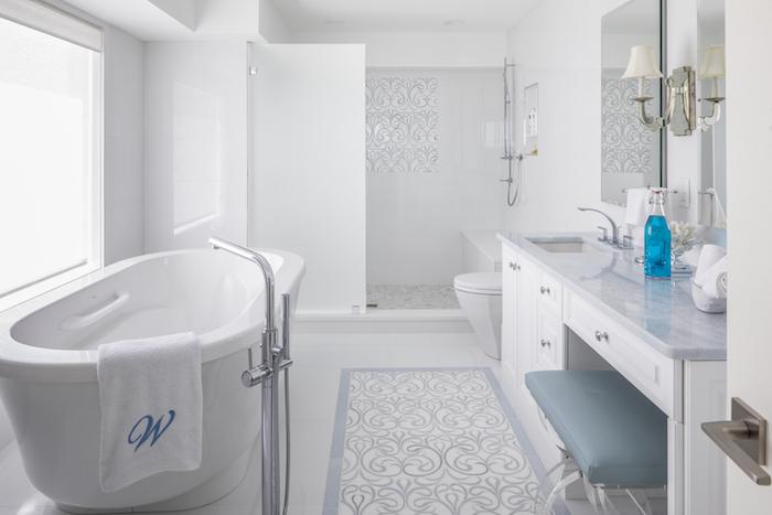 Modern White Master Bathroom Design on Long Island