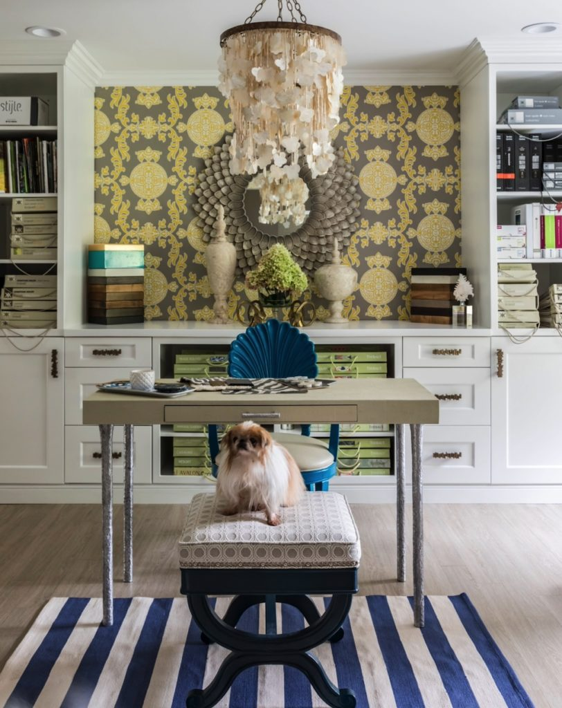 Furry pet dog sitting on stool in chic, eclectic home office designed by Jennifer Scully